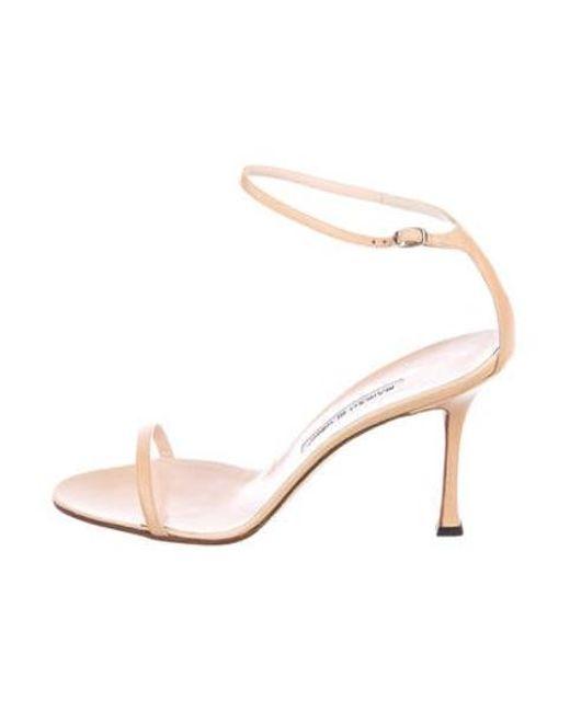 7f98fae9de6f Manolo Blahnik - Natural Leather Ankle Strap Sandals Beige - Lyst ...