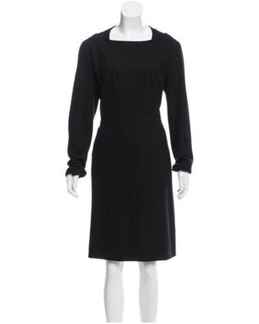 Chanel - Black Wool Knee-length Dress - Lyst