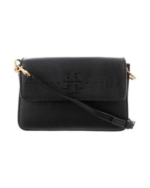 2f6ea4988f5d Tory Burch - Metallic Leather Crossbody Bag Black - Lyst ...