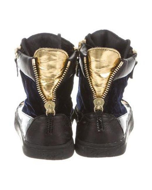 8462abcd2f26 ... Giuseppe Zanotti - Blue Velvet High-top Sneakers Navy - Lyst