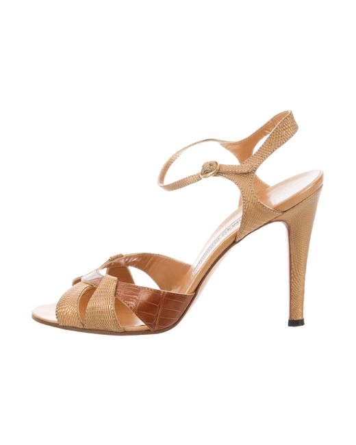 reliable cheap online Manolo Blahnik Lizard Metallic Sandals sale 2014 newest clearance looking for eIcmVL