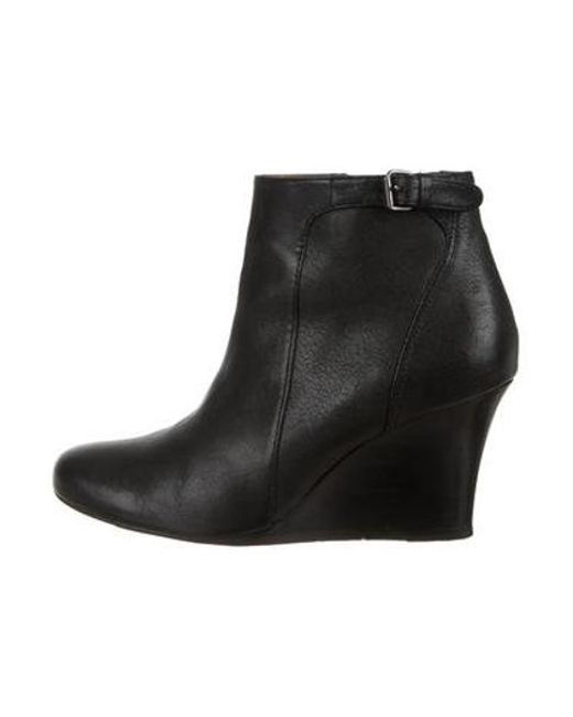 a4ed17804865 Lanvin - Black Leather Round-toe Booties - Lyst ...