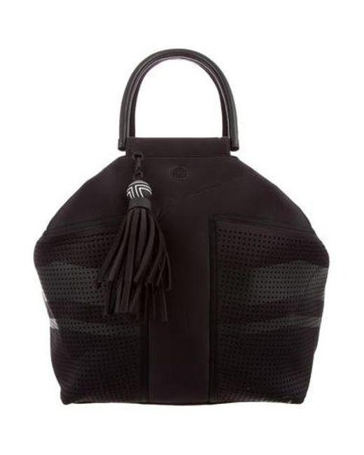 Tory Burch Black Leather Trimmed Weekender Bag Lyst