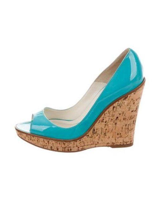 Brian Atwood - Blue Peep-toe Platform Wedges Aqua - Lyst