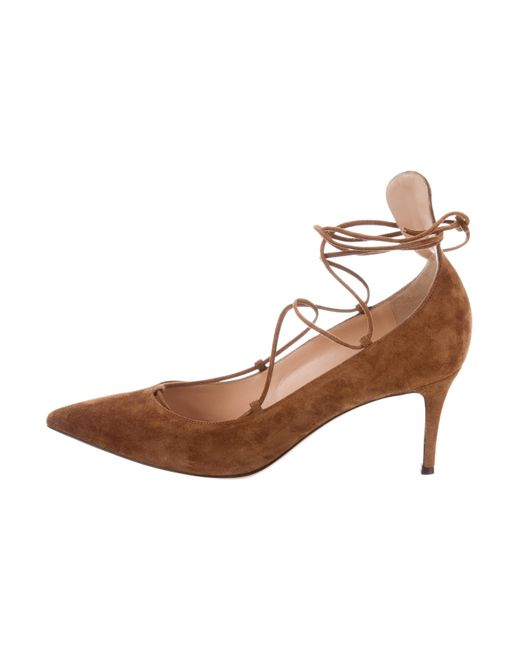 Gianvito Rossi - Natural Suede Lace-tie Pumps Tan - Lyst