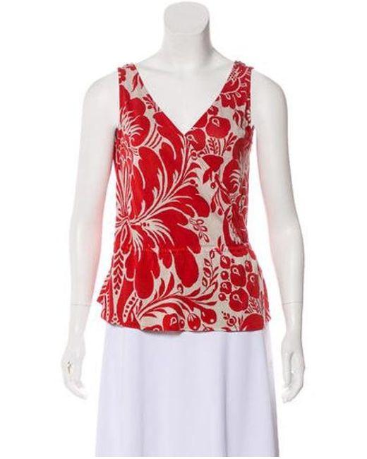 36c573381ba7c Diane von Furstenberg - Red Sleeveless Stein Top - Lyst ...