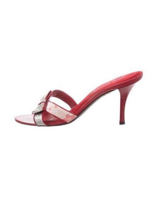 0a38d615e2cc Louis Vuitton - Metallic Snakeskin Monogram Slide Sandals Pink - Lyst ...
