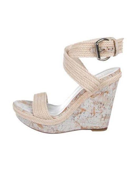 9f82608327b Stuart Weitzman - Natural Scoop Nyc Woven Platform Sandals Tan - Lyst ...