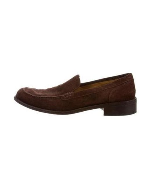 a80606f541d Loro Piana - Brown Square-toe Suede Loafers for Men - Lyst ...