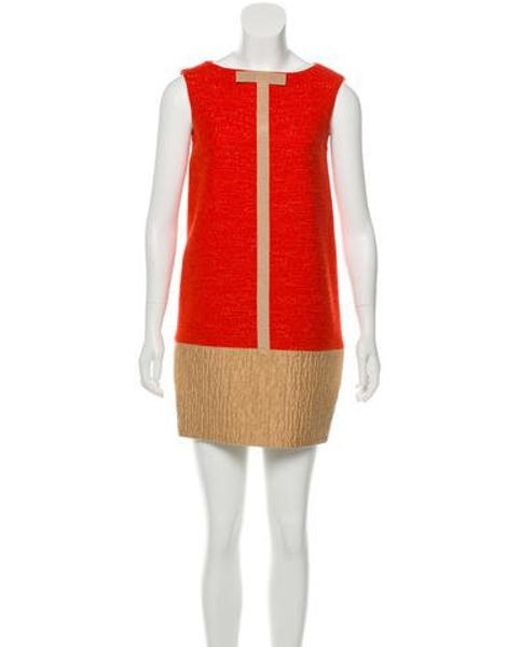 1d040ee612a8eb Giambattista Valli - Natural Wool Sleeveless Mini Dress Orange - Lyst ...