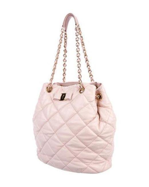 72ac42f2da24 ... Ferragamo - Metallic Quilted Nappa Shoulder Bag Pink - Lyst ...
