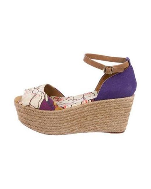 3a393572475 Tory Burch - Printed Espadrille Wedges Multicolor - Lyst ...