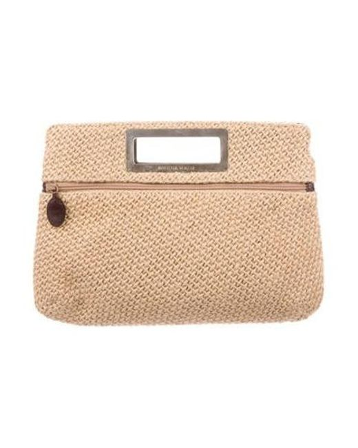 8c07614a2544 Bottega Veneta - Natural Leather-trimmed Woven Canvas Clutch Tan - Lyst ...