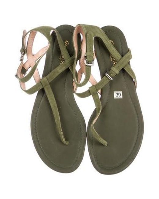 c76b5a648b60a9 ... Gianvito Rossi - Green Suede Thong Sandals Olive - Lyst ...