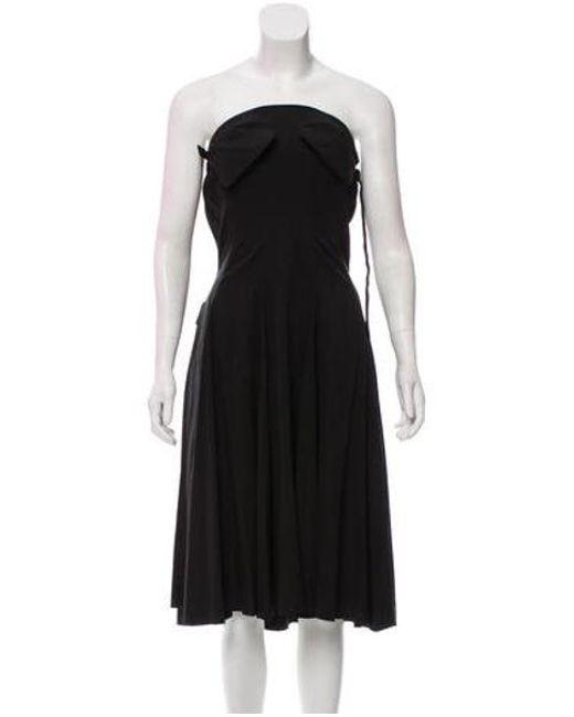 Lyst Yohji Yamamoto Strapless Knee Length Dress In Black