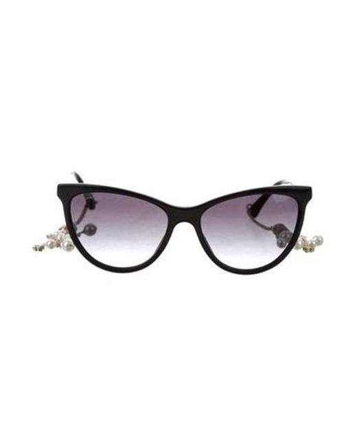 Chanel - Metallic Cat-eye Pearl Sunglasses W/ Tags Black - Lyst