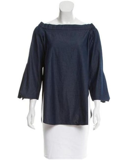 8370151bda652 Tibi - Blue Off-the-shoulder Chambray Top - Lyst ...