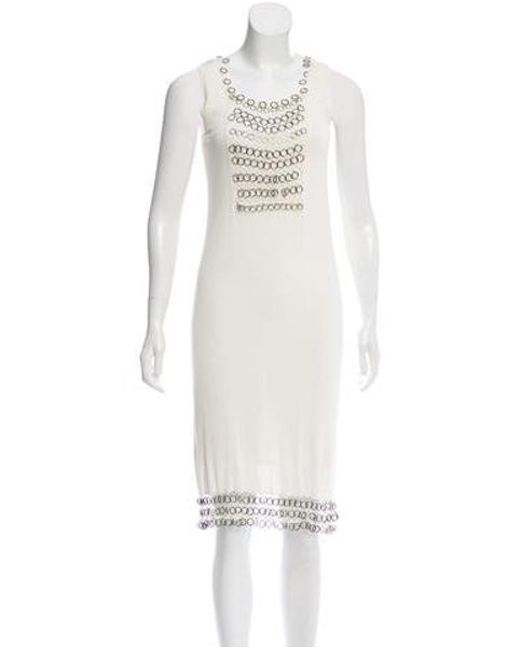 Dior - White Chain-accented Knit Dress - Lyst