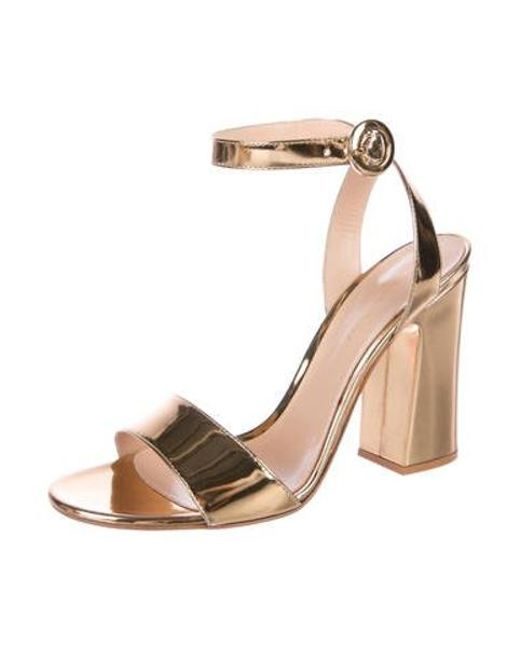 f26a59f1f2f ... Gianvito Rossi - Metallic Leather Ankle-strap Sandals Gold - Lyst ...