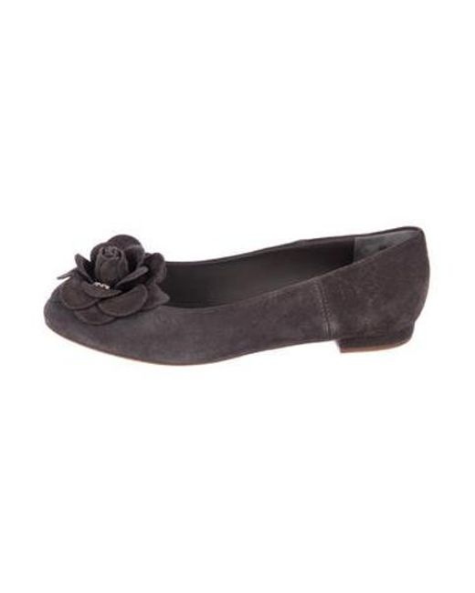 76a1cf059a1319 Chanel - Gray Camellia Suede Flats Grey - Lyst ...