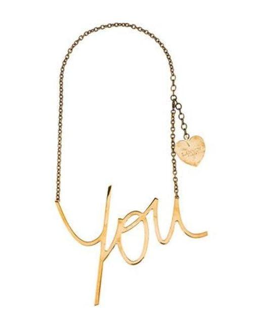 Lanvin - Metallic Golden Heart You Pendant Necklace Gold - Lyst