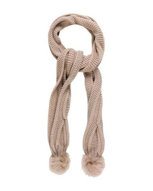 Ugg - Natural Wool Pom Scarf Tan - Lyst
