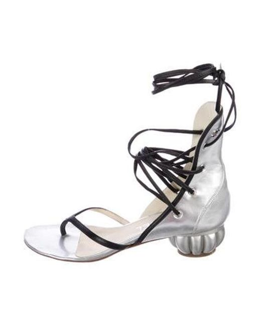 ee28350d6c3faa Chanel - Metallic Leather Sandals Silver - Lyst ...