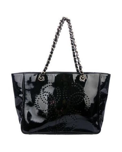 017c69c1af30 Chanel - Metallic Perforated Cc Tote Black - Lyst ...