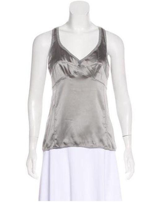 Brunello Cucinelli - Gray Sleeveless Silk Top Grey - Lyst