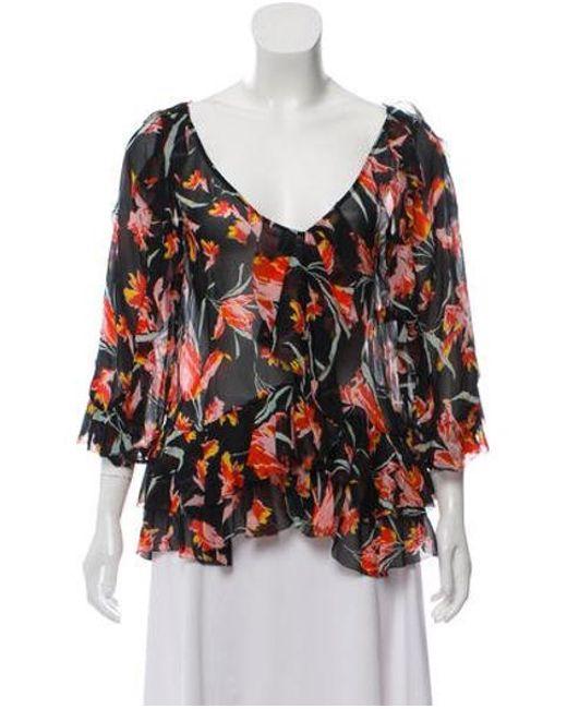 8841ddc3e9a Diane von Furstenberg - Black Printed Silk Top - Lyst ...