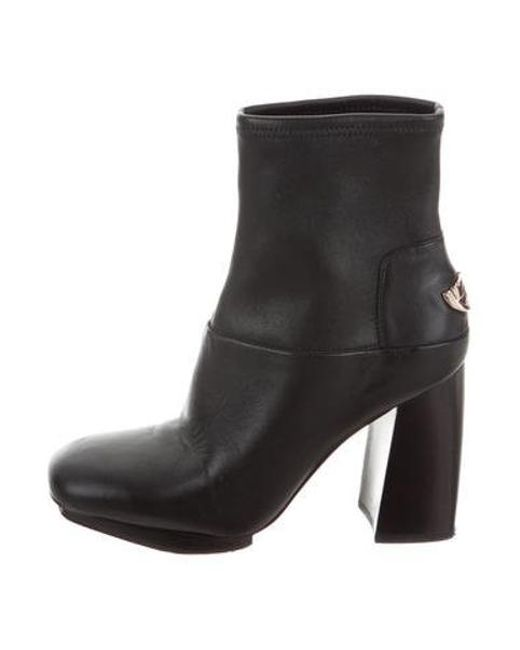 73e8b99c65cd Tory Burch - Metallic Leather Square-toe Ankle Boots Black - Lyst ...