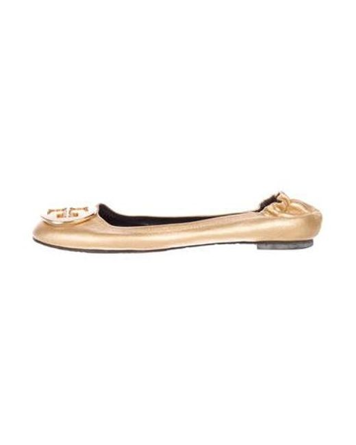 e183649b0 Tory Burch - Metallic Reva Leather Flats Gold - Lyst ...