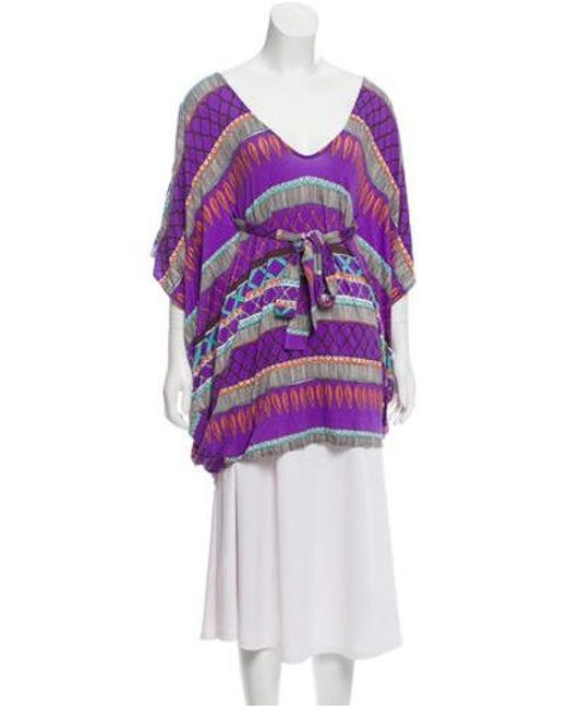 047e477e4b74e1 Mara Hoffman - Purple Printed Cold Shoulder Top - Lyst ...