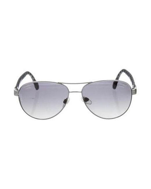 c2ba404fa843 Chanel - Metallic Pilot Polarized Sunglasses Silver - Lyst ...