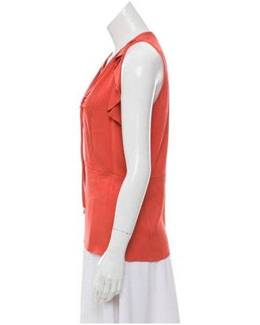 c7a46ccb937ef ... Diane von Furstenberg - Red Berit Silk Top Coral - Lyst ...