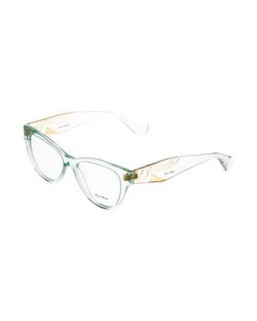 bb701d0602 ... Miu Miu - Yellow Miu Cat-eye Frame Eyeglasses Blue - Lyst ...