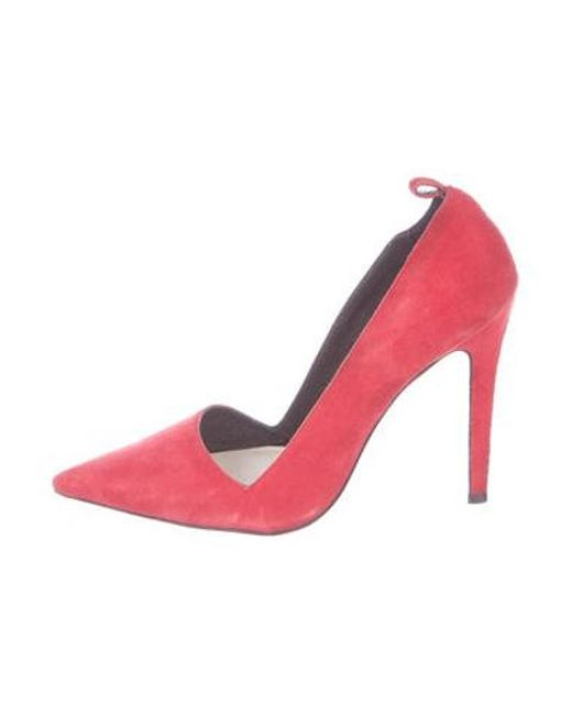 23b13d093e5 Alice + Olivia - Red Pointed-toe Suede Pumps - Lyst ...