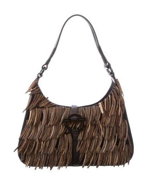 c3959595b0ae Ferragamo - Black Wooden Chip Shoulder Bag - Lyst ...