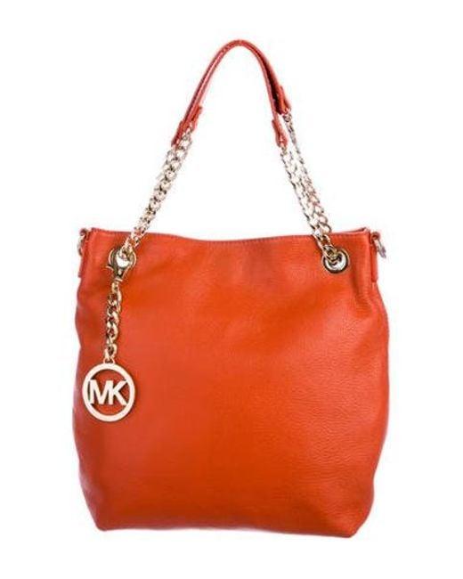 1d9fb607d6cc MICHAEL Michael Kors - Metallic Michael Kors Grained Leather Satchel Orange  - Lyst ...