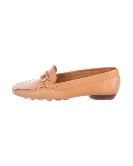 55dbb70c39 Ferragamo - Metallic Leather Round-toe Loafers Cognac - Lyst ...