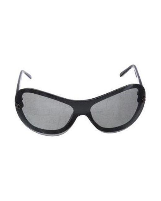 a4f3eef85d4 Chanel - Metallic Shield Cc Sunglasses Black - Lyst ...