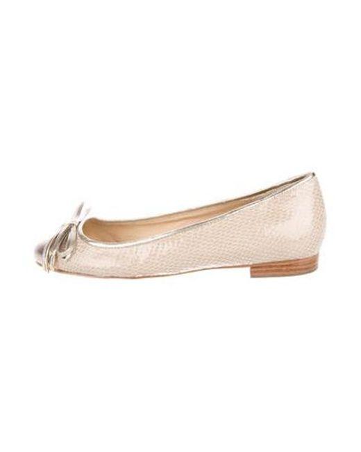 35d4bb20507a Kate Spade - Metallic Round-toe Flats Gold - Lyst ...
