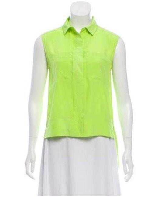 663a25d3a697a Diane von Furstenberg - Yellow Silk Sleeveless Top Neon - Lyst ...