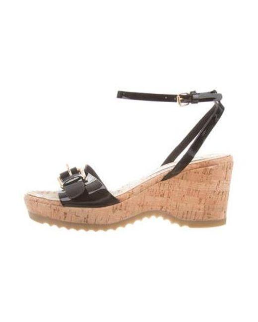 c32fcabdf18 Stella McCartney - Black Vegan Wedge Sandals - Lyst ...
