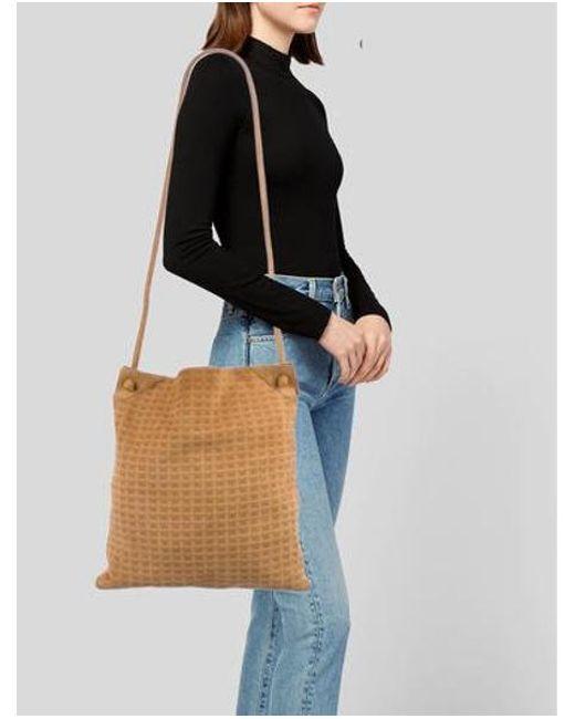 f7dc64c79e ... Bottega Veneta - Metallic Vintage Suede Crossbody Bag Brown - Lyst ...