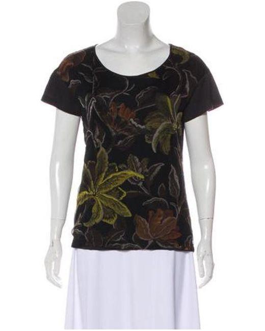 c44f9ed1 Dries Van Noten - Black Floral Print Short Sleeve Top - Lyst ...