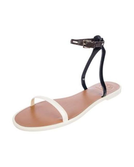 3e5c88498d69 ... Tory Burch - Metallic Leather Ankle Strap Sandals White - Lyst ...