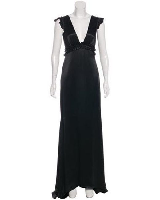 Lyst Vera Wang Pleated Evening Dress In Black