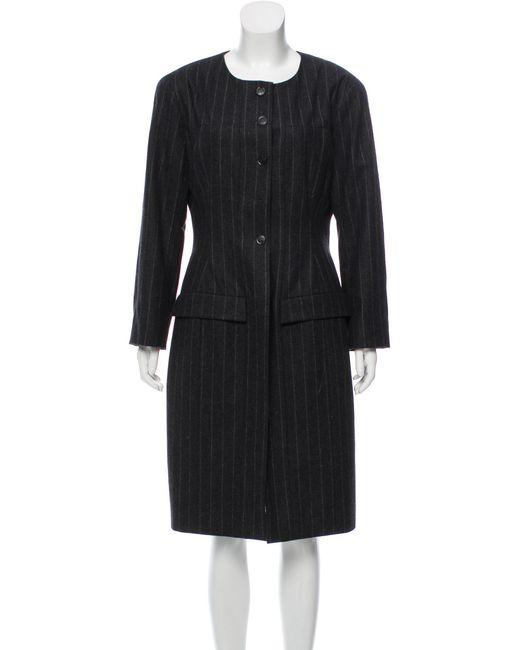 Chanel - Brown Wool Pinstripe Coat Wool - Lyst