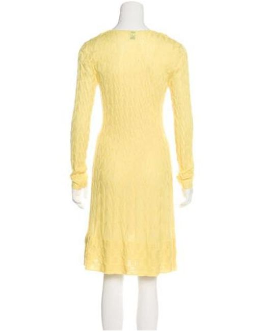 f591a332fd94 ... M Missoni - Yellow Knit Midi Dress - Lyst